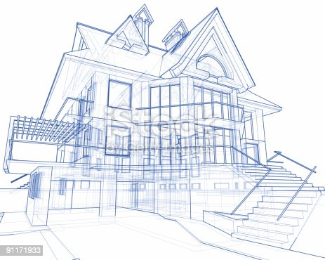 istock house blueprint: 3d technical concept draw 91171933