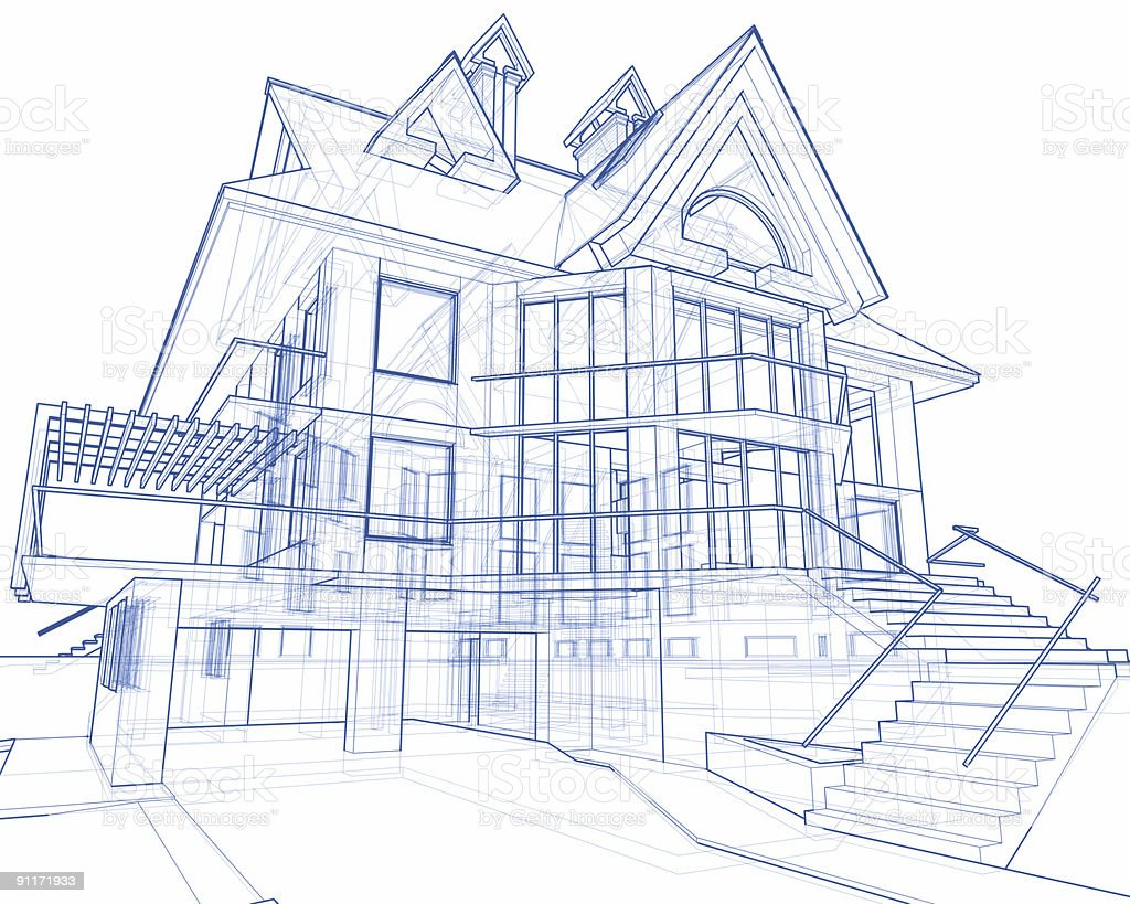 house blueprint: 3d technical concept draw stock photo