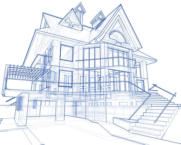 house blueprint: 3d technical concept draw - sketch stock photos and pictures