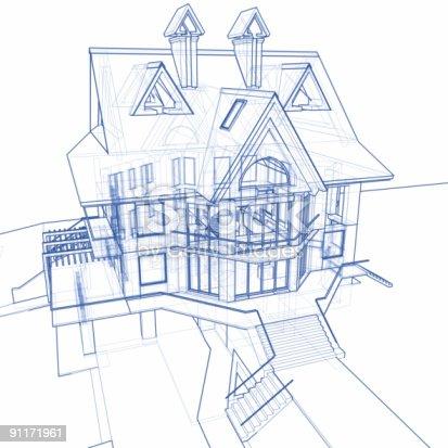 istock house blueprint: 3d technical concept draw 91171961