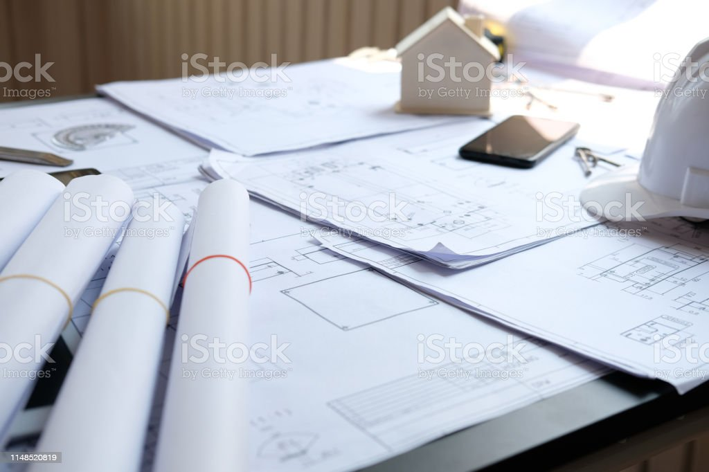 house blueprint of real estate project at architect engineer...