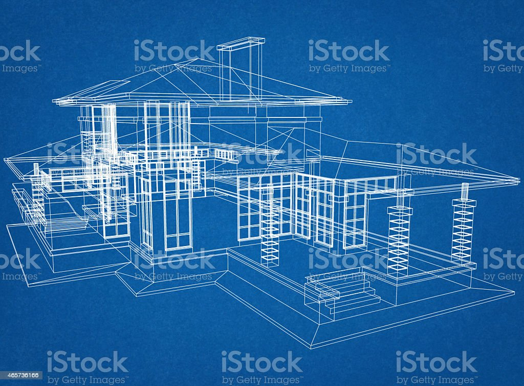 House Blueprint stock photo