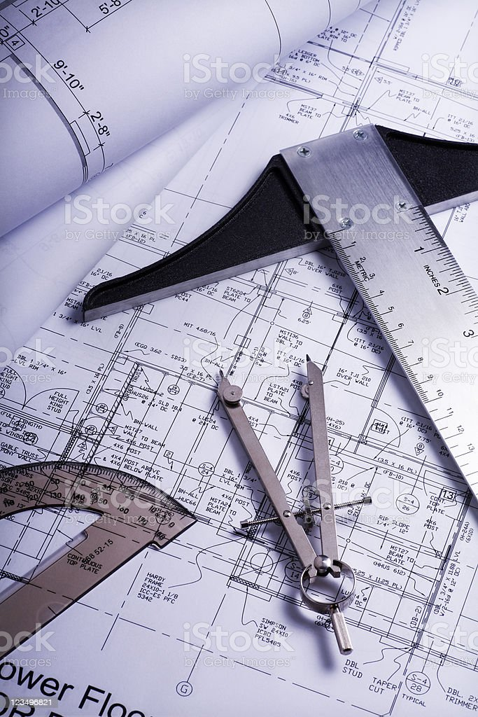 House blueprints royalty-free stock photo