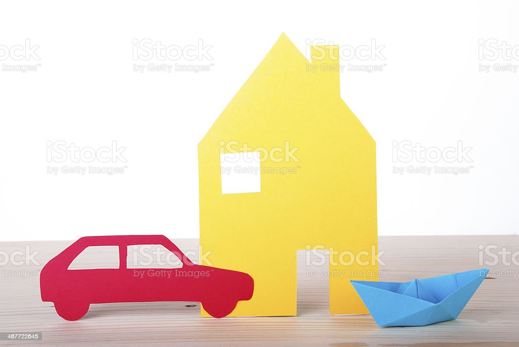 House, Boat and Car stock photo