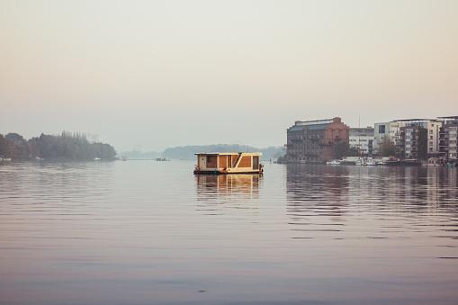 house boat at spree river, berlin