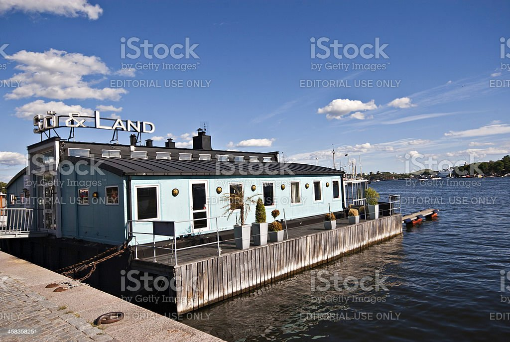 House boat at the dock in Stockholm royalty-free stock photo