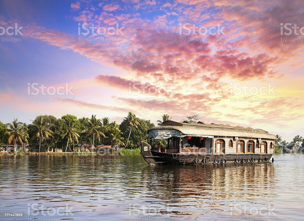 House boat in backwaters stock photo