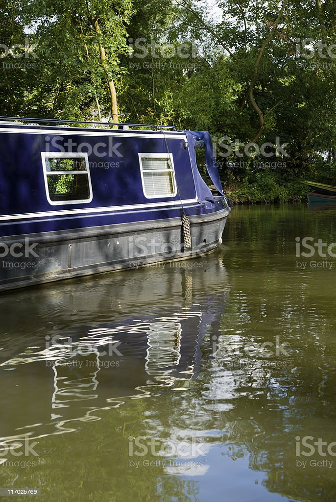 House boat reflected on the canal royalty-free stock photo