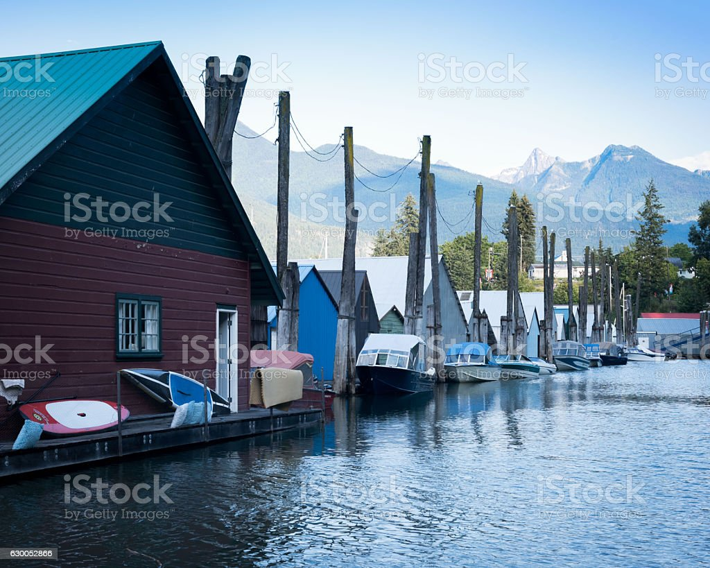 House boats on a body of water stock photo