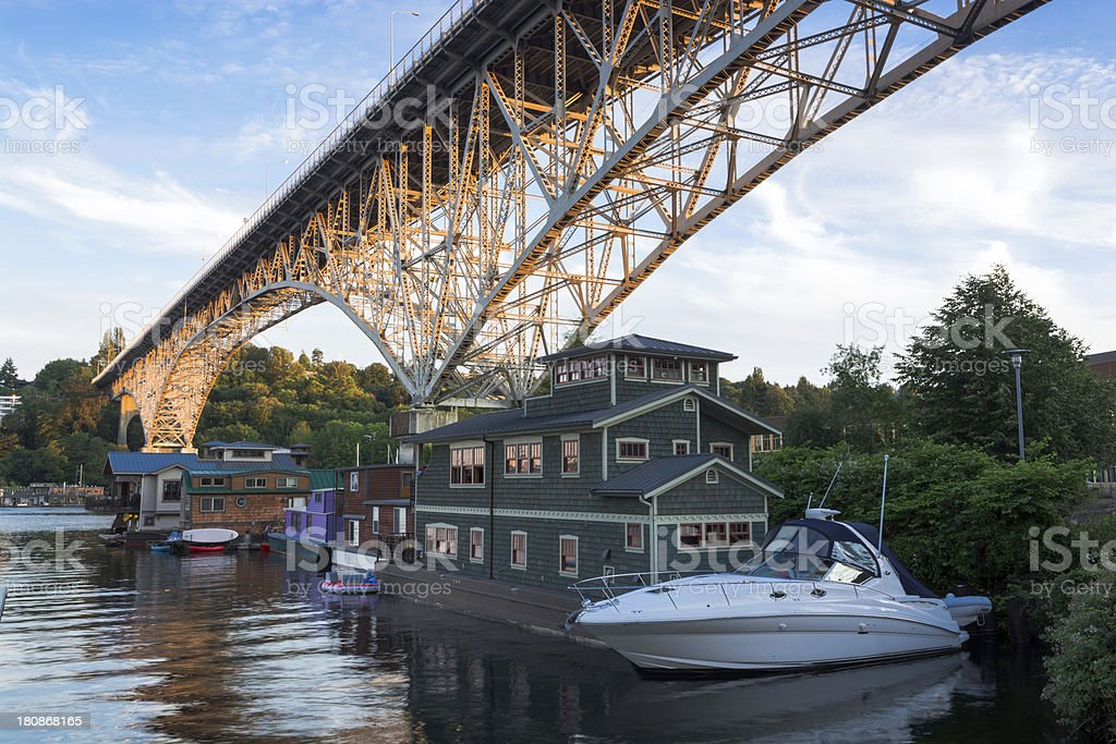 House boats on Lake Union in Seattle, WA royalty-free stock photo