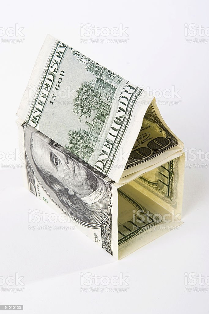 house build from US dollars banknotes royalty-free stock photo