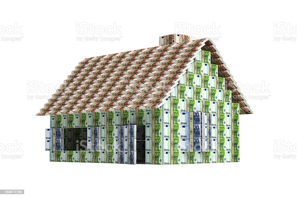 House build with Euro bills royalty-free stock photo