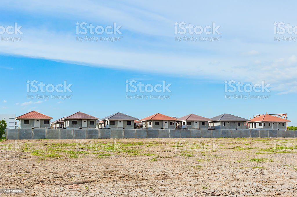 House Building and Construction Site village in progress, waitin stock photo