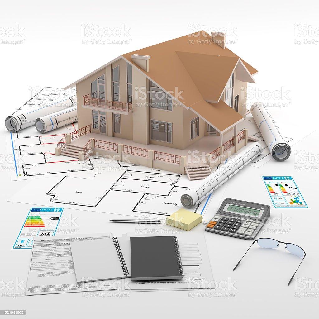 Una casa. Planos de construcción y etiquetas energéticas europeas. stock photo
