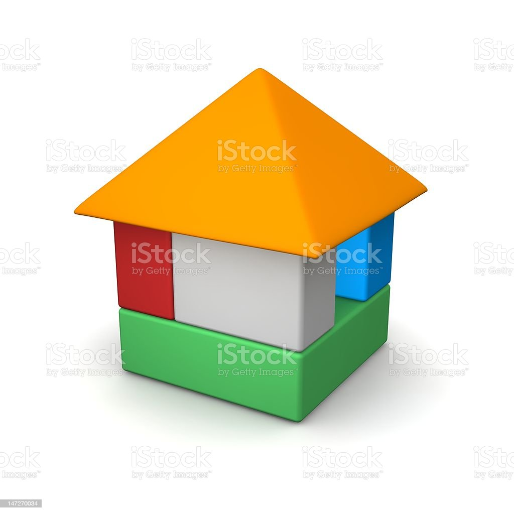 House built of color blocks royalty-free stock photo