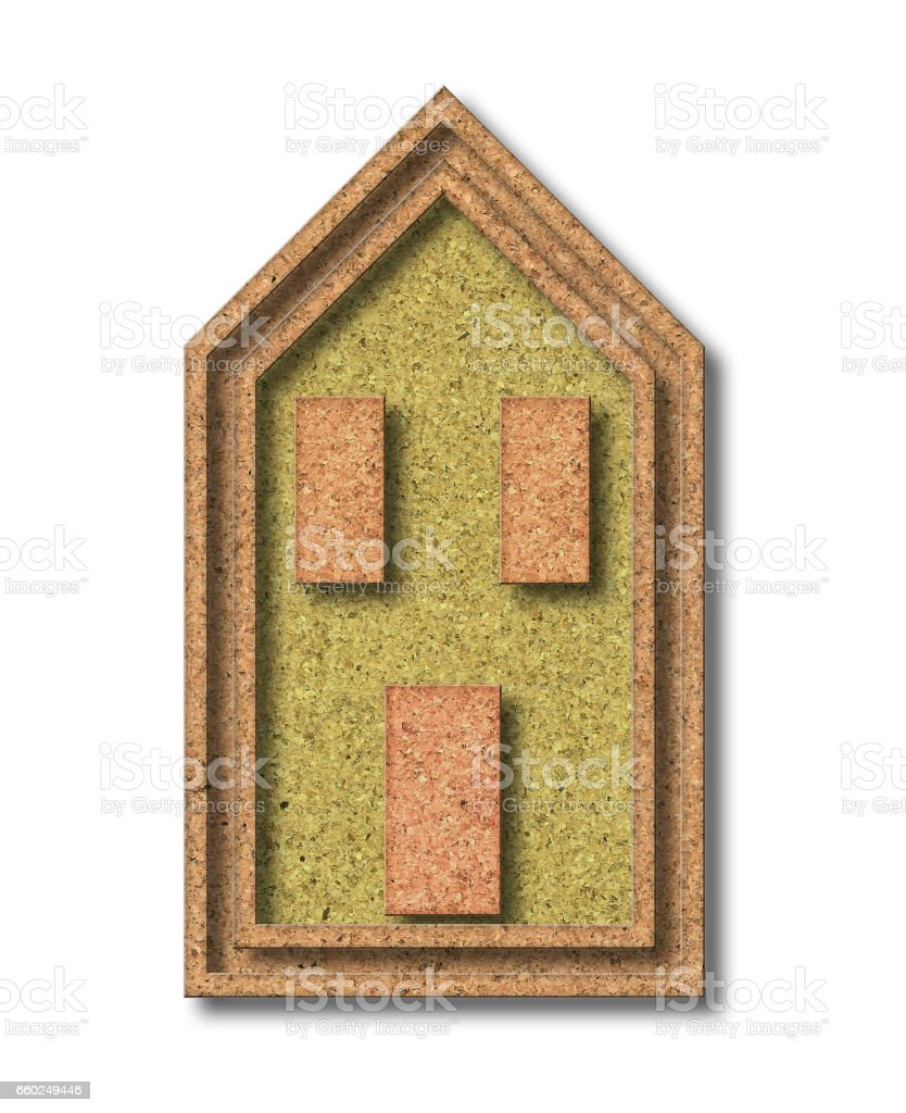 House built with cork - Buildings energy efficiency concept image stock photo