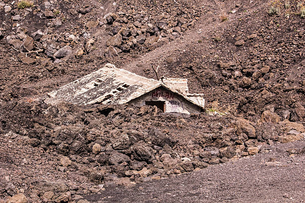House buried by Volcanic eruption near Mount Etna Sicily stock photo