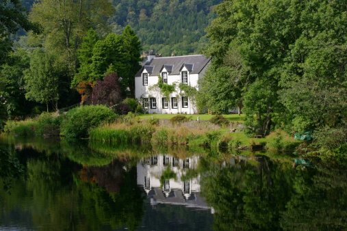 House By River Teith Callander The Trossachs Scotland Stock Photo - Download Image Now