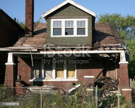 Burned out and abandoned house in Detroit, MI.  See other examples by clicking on the link below.