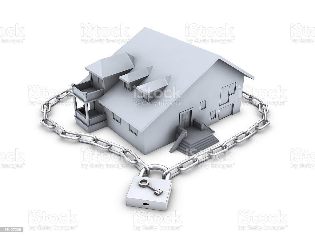 House, chain, closed padlock and key royalty-free stock photo