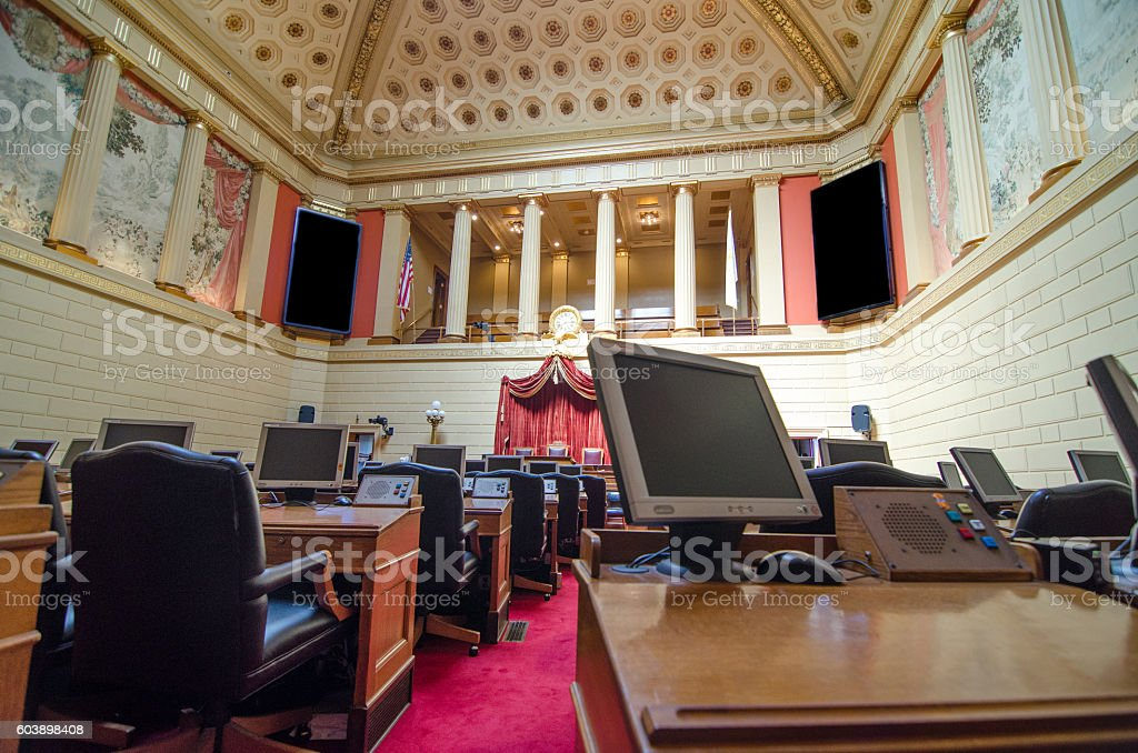 House Chamber of representatives in Providence State House stock photo