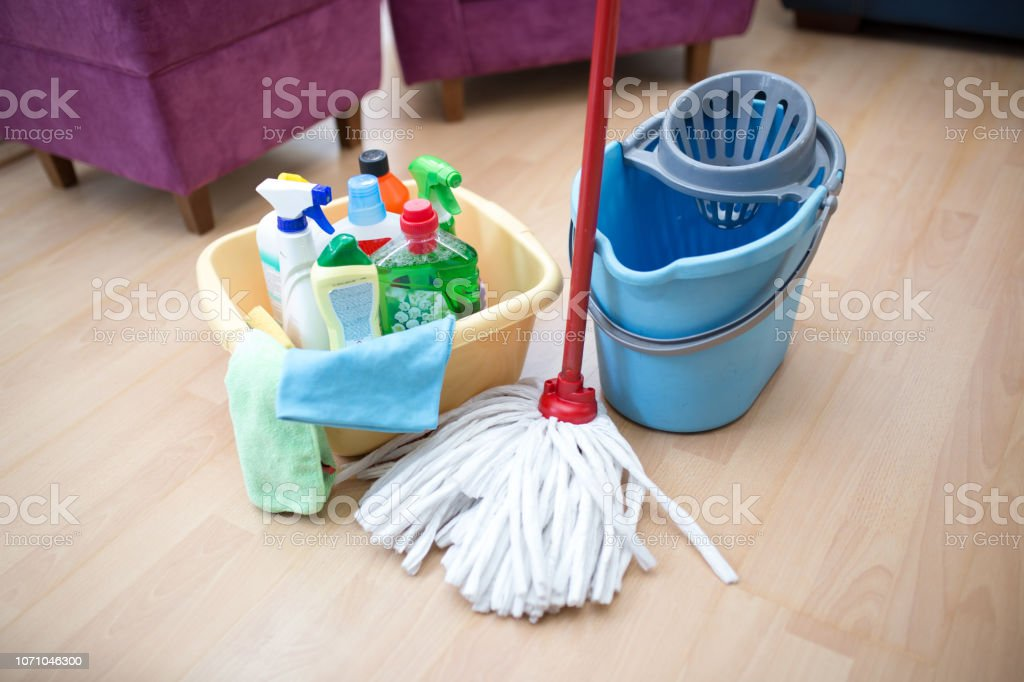 House cleaning equipment and supplies stock photo