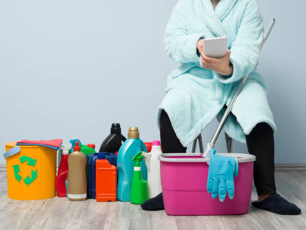 House Cleaning Housewife Giving A Break stock photo