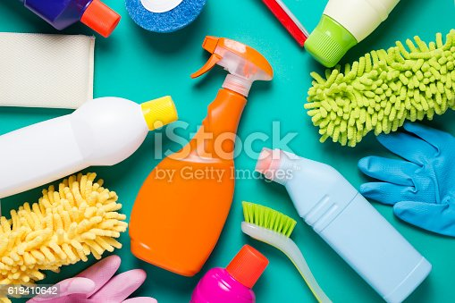 istock House cleaning product on colorful background 619410642