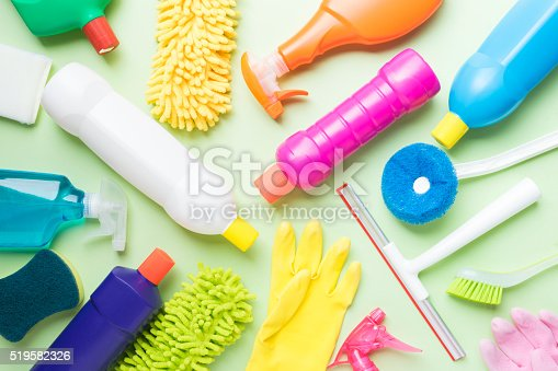 istock House cleaning product on green background 519582326