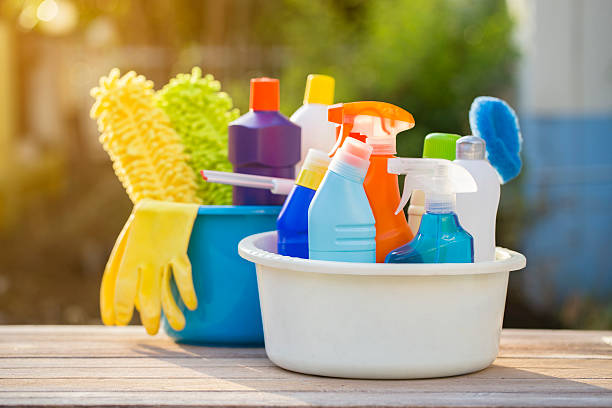 house cleaning product on the table, outdoor - disinfectant stock pictures, royalty-free photos & images