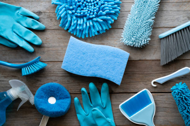 House cleaning product on wood table, blue equipment concept House cleaning product on wood table, blue equipment concept cleaning equipment stock pictures, royalty-free photos & images