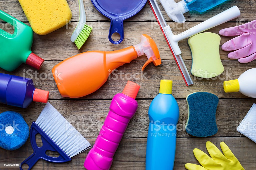 House cleaning product on wood table stock photo