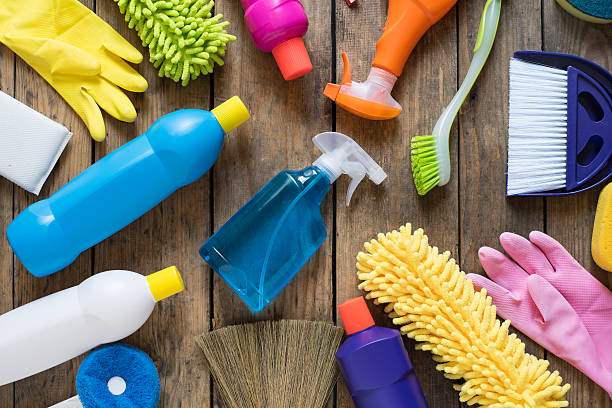 House cleaning product on wood table House cleaning product on wood table cleaning equipment stock pictures, royalty-free photos & images