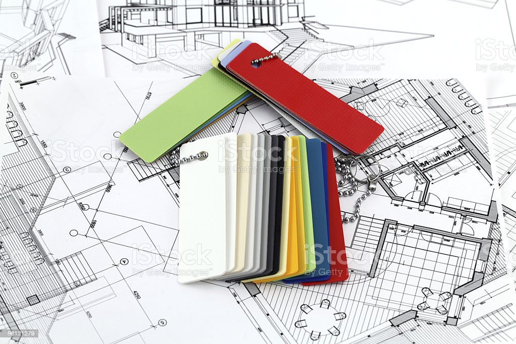house - colored plastics, architectural drawings royalty-free stock photo