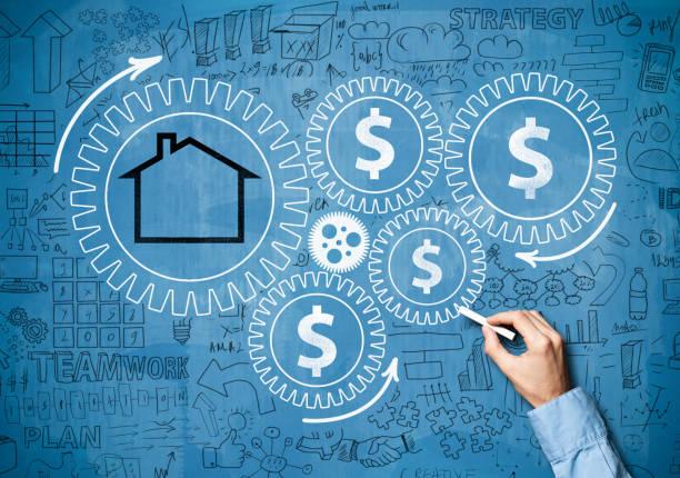 hauskonzept/blaues brettrad-konzept (klicken für mehr) - sozialwohnung stock-fotos und bilder