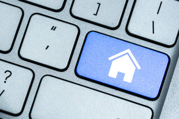 house concept on keyboard stock photo