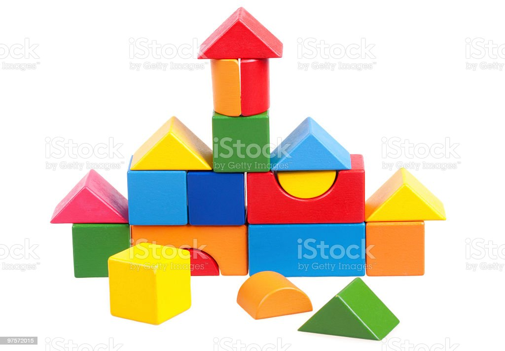 House constructed of wooden blocks royalty-free stock photo