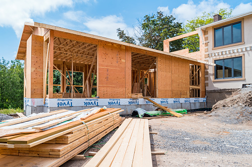 A new home addition is under construction at a large house. (Please see the last line of the property release for extended dates)