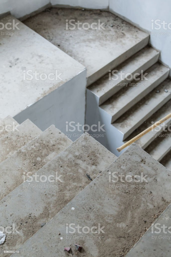 House Construction Concept With Cement Concrete Stair Royalty Free Stock  Photo