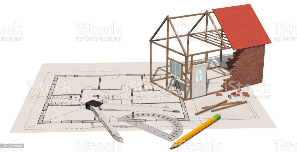 Fotograf a de casa construcci n casa en construcci n sobre for Planos de construccion
