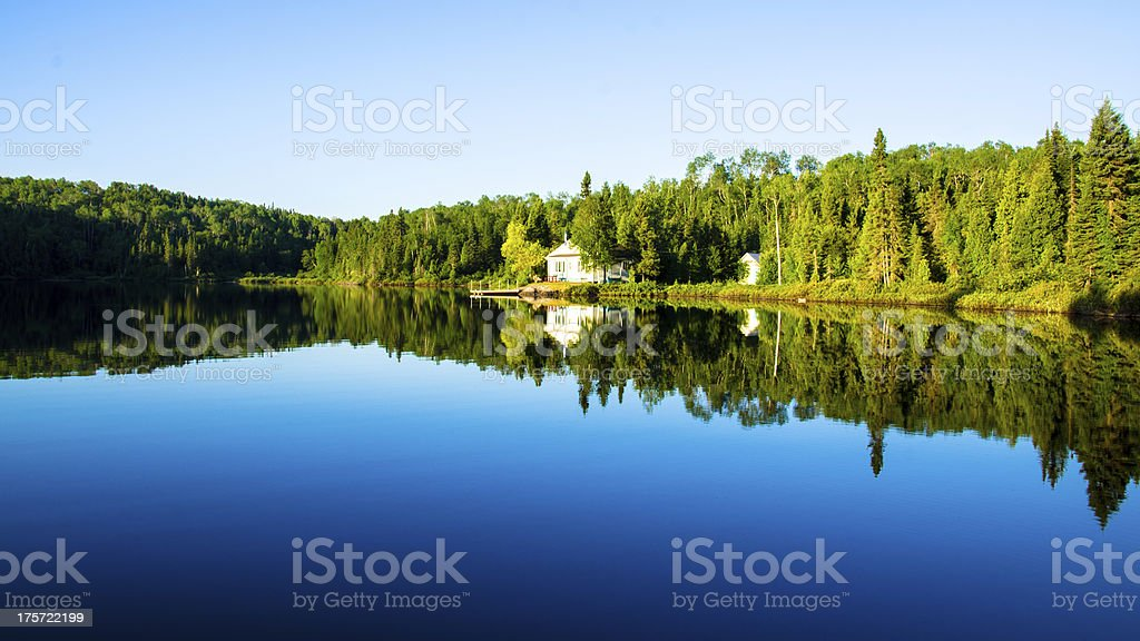 House, Cottage Lake, Reflections, Water, Forest, Quiet, Rural Scene stock photo