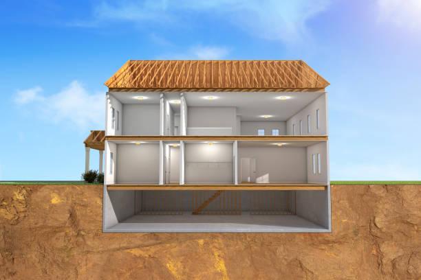3d house tvärsnitt av byggnaden - tvärsnitt bildbanksfoton och bilder
