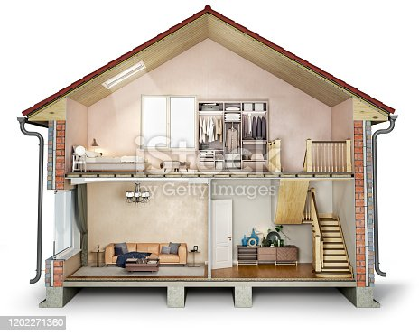 istock House cross section, view on bedroom, living room and hallway, 3d illustration 1202271360