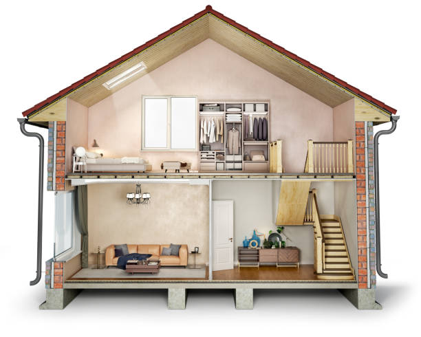 House cross section, view on bedroom, living room and hallway, 3d illustration stock photo