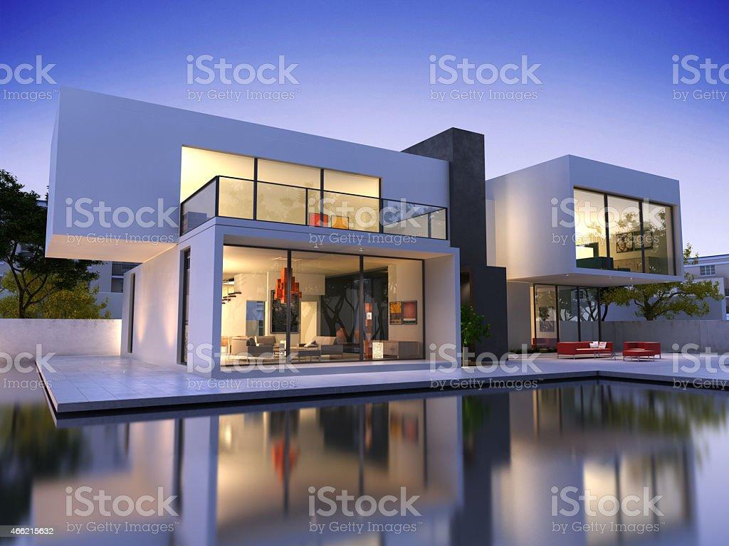 House cube une piscine - Photo