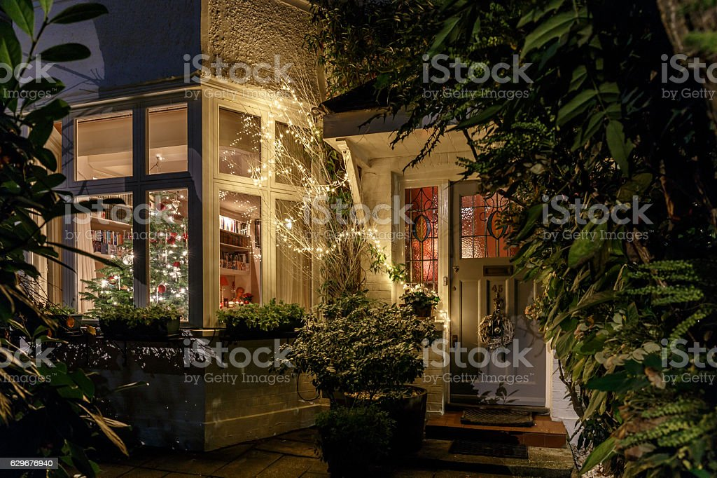 House decorated for Christmas in London stock photo