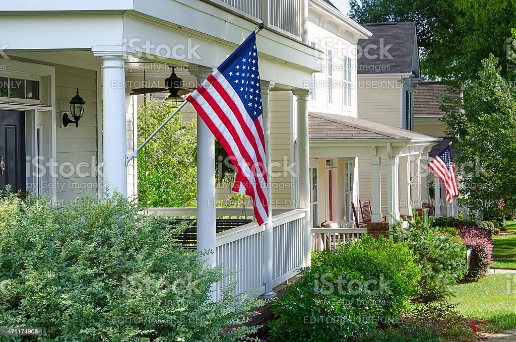 House Decorated for the Fourth of July stock photo