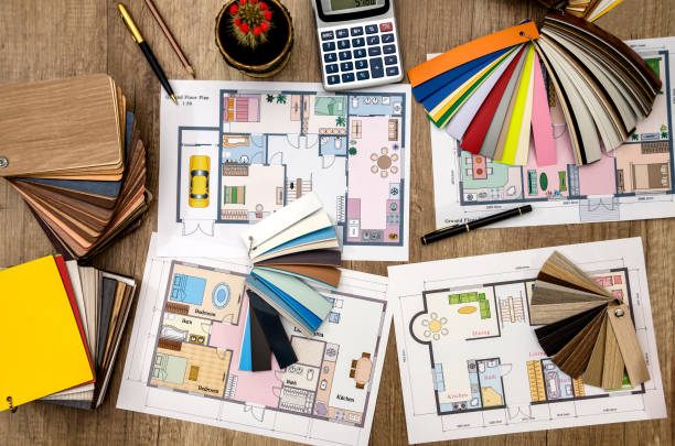 house design, color samples for the floor and furniture stock photo