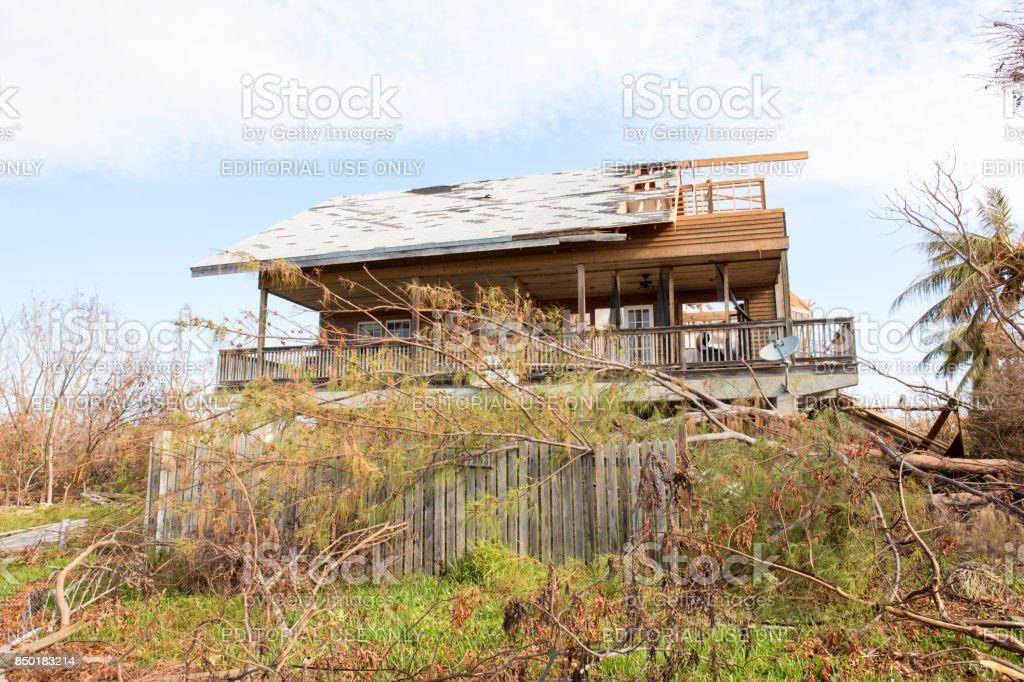 House destroyed by Hurricane Irma in Cudjoe Key in Florida Keys stock photo