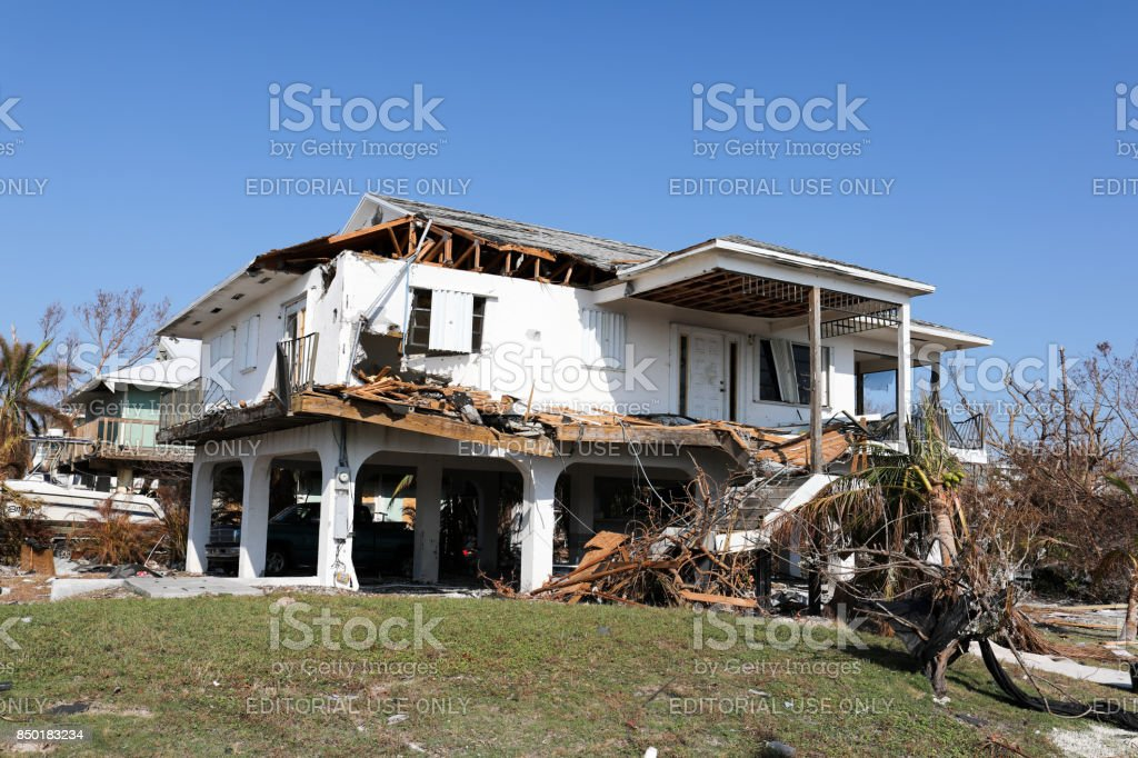 House destroyed by Hurricane Irma in Ramrod Key in Florida Keys stock photo